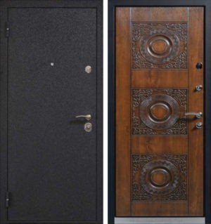 Входная металлическая дверь порошковое напыление и МДФ с резьбой СП313